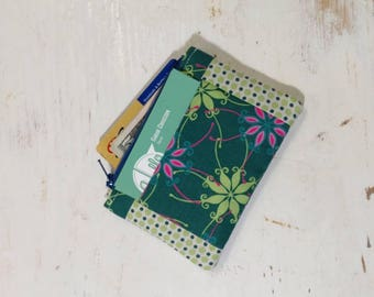 Zipper pouch, small zipper wallet, card holder, change pouch, change pocket, green floral, polkadot wallet