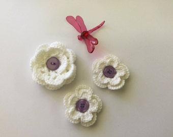 Crochet flowers, crochet appliqués, set of three flower appliqués, white flowers,