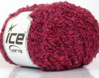 Maroon Wool Boucle Knitting Yarn 2 Balls Lot By Ice Yarns Burgundy