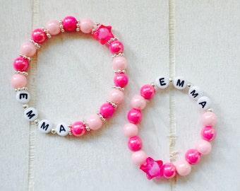Mother-child bracelet set bead bracelets with name personalized