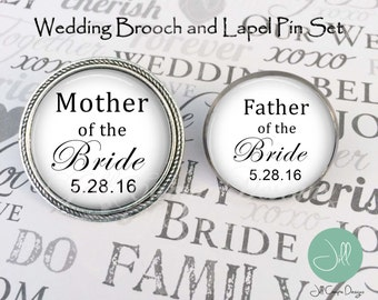 FATHER of the Bride, MOTHER of the Bride, Brooch and Lapel pin set - Mother of the Bride brooch, Father of the bride lapel pin, wedding