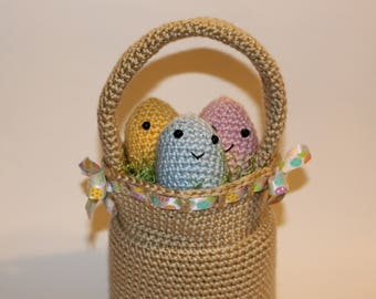 Handmade Crochet Easter Basket with Smiley Egg's Toilet Paper Cover - Spare Roll Holder - Toilet Paper Cozy