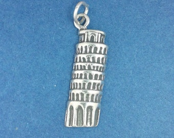 Leaning TOWER Of PISA Charm .925 Sterling Silver Italy Pendant - lp3060