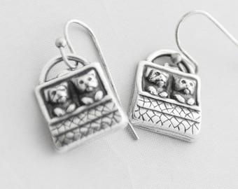 Cute Puppy Earrings, Dog Earrings, Silver Charm Earrings, Pet Lover Gift, Dog Lover Gift, Dog Breeder Gift, Cat Lover Gift, Kitten Earrings