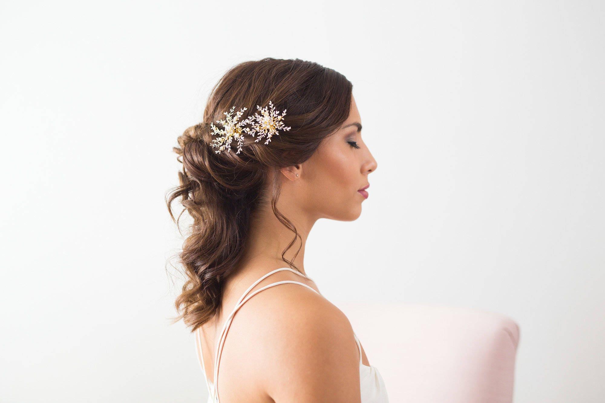 Bridal Hair Accessories, Wedding Hair Clips, Gold Bridal Hairpiece ...