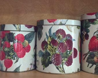 Berries Fruit Canister Tin Set 4 piece