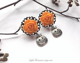 Pumpkins earrings halloween jewelry goth/gothic earrings fantasy earrings witch/wiccan jewelry fairy goth