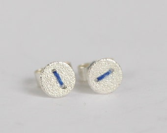 Tiny silver disc earrings studs with embroidery thread stitch