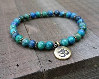 LATE SHIP crysocolla yoga stretch  mala  energy  yoga  power beads om  summer  wrist mala power beads