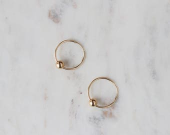 Gold Hoop Charm Earrings - Gold Filled Earrings - Simple Gold Hoops - Everyday Jewelry - Gift for Her - Mother's Day Gift - Minimalist