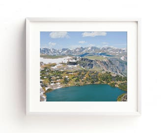 """landscape, beartooth mountains, mountains, wilderness, large art, large wall art, woodland, nature, colorful, summer - """"Beartooth Lakes"""""""