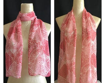 Vintage Scarf - Scarves - Accessories - Chiffon Scarf - Scarf - Summer Scarves -  Scarf - White/Red Scarf