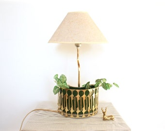 Art Deco Brass and Ceramic Plant Holder Table Lamp - Mid Century