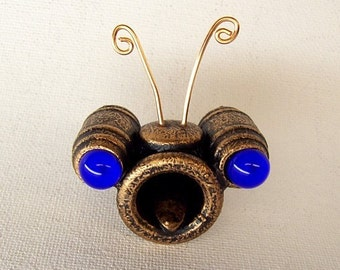 Funny Faces COPPER Billy Bug Blue Eyes Wood Pendant Ornament Dangle