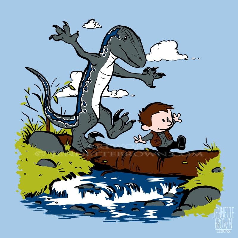 Owen and Blue Jurassic World Calvin and Hobbes Fan Art Prints