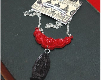 "Handmade Virgin De Guadalupe Necklace - Red Roses Black Guadalupe Pendant - Day Of The Dead - Cinco De Mayo - 18"" Length"