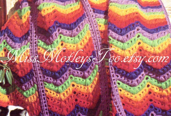 Broomstick Lace Crochet Pattern Chevron Rainbow Afghan Blanket