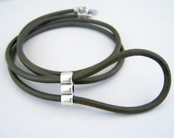 Olive Green, Eyeglass Lanyard, Leather Eyeglass Ring, Eyeglass Necklace, Eyeglass Chain, 28-36 inchs, Eye Glasses Holder,