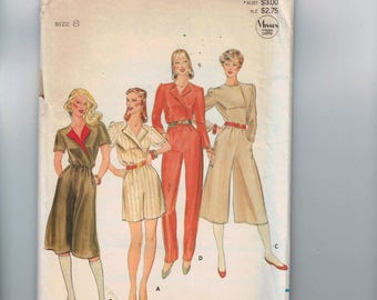 1980s Vintage Sewing Pattern Butterick 4177 Misses and Petite Easy Jumpsuit Size 8 Bust 31 32 80s