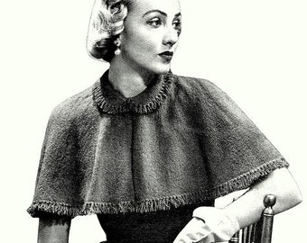 Capelet Cape Knitting Pattern (2 yarn versions) Vintage 726015