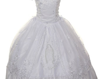 First Communion Dress with Virgin Mary Embroidery