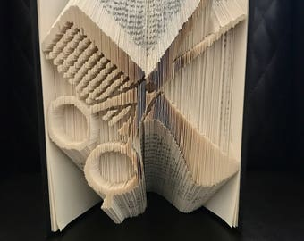 Folded Book Art, Personalized Gift, Hairdresser, Barber, Hairstylist, Customized Book, Scissors, Unique, Hairdresser Gift, Folded Paper