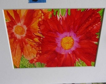 Alcohol Inks shades of corals,reds and orange