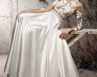 Wedding Dress Off White Satin Dress,Illusion Lace Long Sleeve Bride Dress,Bridal Dress with Train Maxi Dress,Boat Neck Evening Dress(LW215)