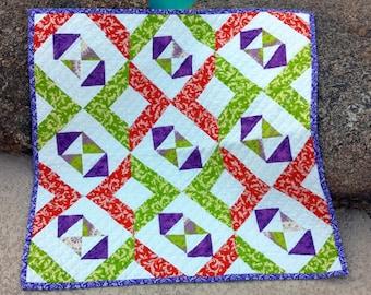 Baby Shower Gift, Handmade Baby Quilt, Unisex Baby Blanket, Lavender, Green, Orange