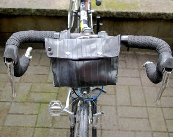 Bicycle Handle Bar Bag / Bike Bag / Clutch - Upcycled Bike Tubes with purple lining and magnet clap