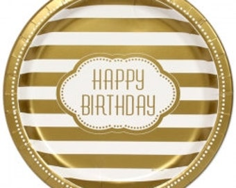 Golden Happy Birthday Dinner Plates/ 8 CT Gold Party Plates/ Gold Birthday Party/ Gold Striped Party Plates/ Gold Party Supplies