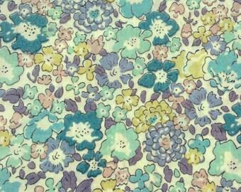 "Michelle D Liberty Fabric tana lawn turquoise blue white purple green pink fat quarter 18"" x 25.5"" (45 cm x 65 cm) The Weavers Mill"