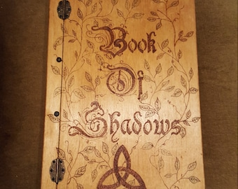 Handmade wooden Book of Shadows Diary Journal Grimoire - FREE UK SHIPPING!