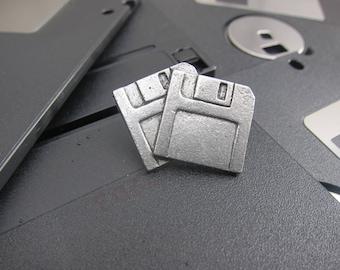 Floppy Disks Lapel Pin - CC273- Floppy, Diskette, Storage, Computer, Technology, Geek Pins