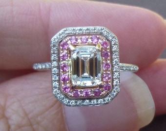 Vintage Emerald cut 1.5 carat tw diamond engagement ring E VS2 pink sapphire diamond halo ring size 4.75 stunning