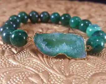 Lucky - Green Agate Druzy Stretch Stack Bracelet