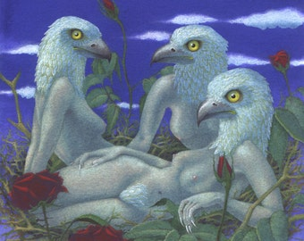"Original surreal fantasy painting: ""Predatory Birds"" - sinister hawk-girls in a bed of roses, female nude erotic art, watercolour (unframed)"