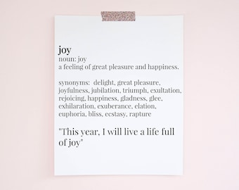 Joy Word of the Year Definition Instant Download Art Print