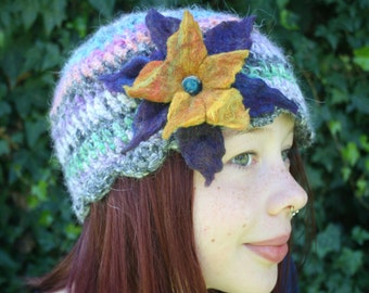 Angora Crochet Hat with Large Felted Flower- Purple and Gold- Violet Rainbow