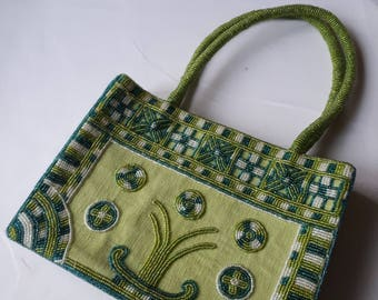 Vintage handbag, handmade handbag, beaded handbag, embroidered handbag, green handbag, embroidered beaded handbag