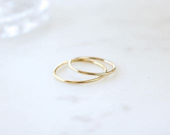 Gold plated Silver Plain SKINNY ROUND Band Ring, Minimalist ring, Dainty ring, stackable ring, thin silver ring, stacking ring, Silver band