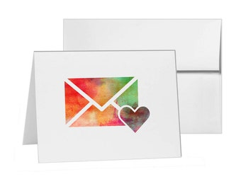 Like Email Love Letter Heart Envelope, Blank Card Invitation Pack, 15 cards at 4x6, with White Envelopes, Item 836498