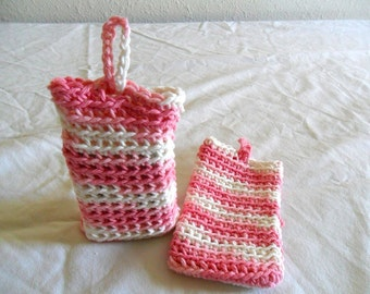 Pink and White Soap Saver Bag - Pink Cotton Soap Saver Bag - Pink Stripe Soap Saver Bag - White Stripe Soap Saver Bag - Pink Cotton Soap Bag