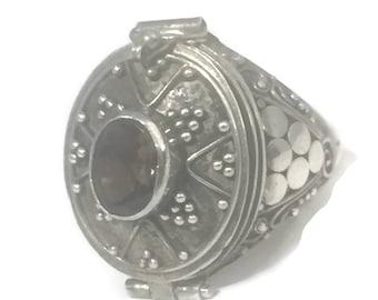 Vintage Poison Ring Size 8 Brown Ring Size 8 Vintage Locket Ring Size 8 Sterling Silver Ring Women Ring Size 8 BoHo Ring Size 8 Poison Rings