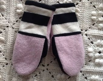 Handmade felted lined mittens 106