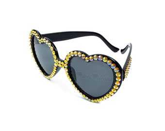 HAZARD Heart Sunglasses, Yellow & Black Sunglasses, Ladies Sunglasses, Cyber Goth, Raver, Ladies Sunnies, Girls Shades, Bling Sunglasses