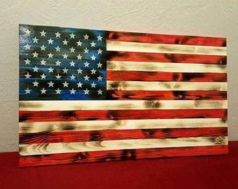 Rustic Wood American Flag - Distressed Flag - Wood Flag - Wooden Flag - Charred Wood Flag - Wood Burned Flag - Burnt Flag - American Flag