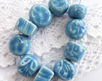 Ceramic beads ~ 10 handmade clay beads, ceramic bead, stoneware beads, handmade jewellery supplies, handmade blue beads, jewellery making