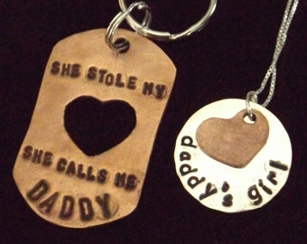 Daddy Daughter set, Daddy's Girl necklace, Father Daughter set, She stole my heart, She Calls Me Daddy Keychain, Father's Day from daughter