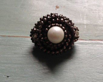 Vintage sterling silver plated, faux pearl and rhinestone ring - Adjustable